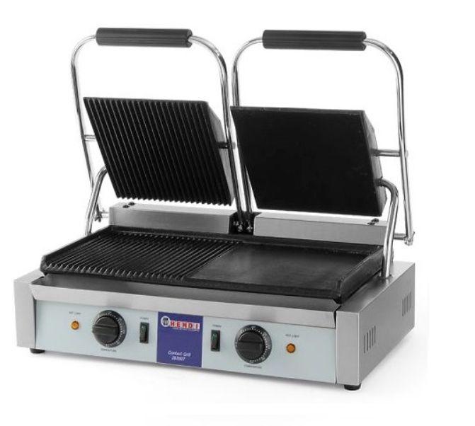 Kontaktný gril dvojitý ryhovaný hladký - 2 x 1.800 wattov