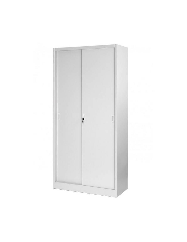 Dvojdverová kancelárska skriňa s policami a posuvnými dverami - svetlo šedá
