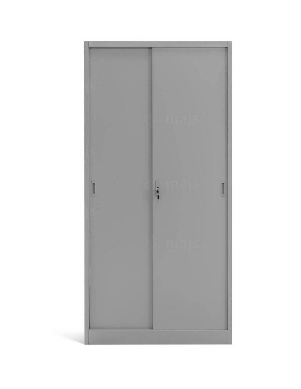 Dvojdverová kancelárska skriňa s policami a posuvnými dverami - šedá