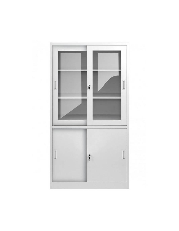 Kancelárska skriňa so sklenenými a posuvnými dverami - svetlo šedá