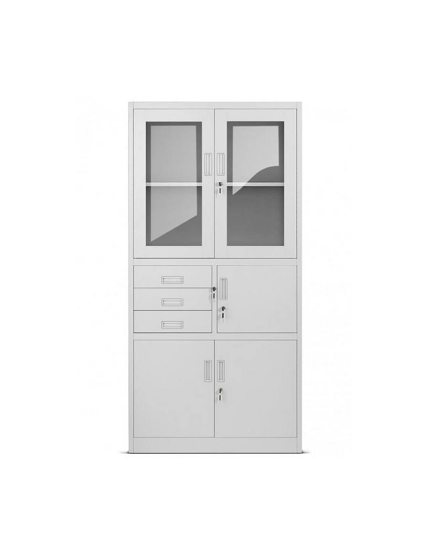 Kancelárska skriňa so zásuvkami a trezorom - svetlo šedá